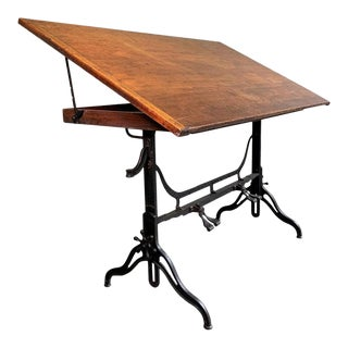 Antique Industrial Adjustable Drafting Table by j.g. & j.n. Alexander For Sale