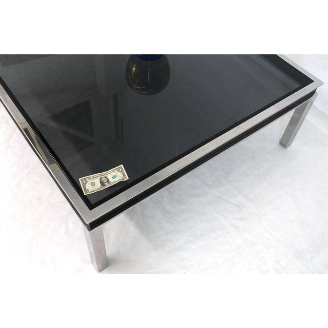1970s Extra Large Polished Chrome Square Smoked Glass Coffee Table For Sale - Image 10 of 13