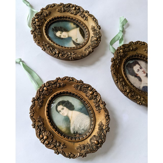 French Trio of Vintage Victorian Style Cameo's Women Portraits With Gold Frames - Lot of 3 For Sale - Image 3 of 5