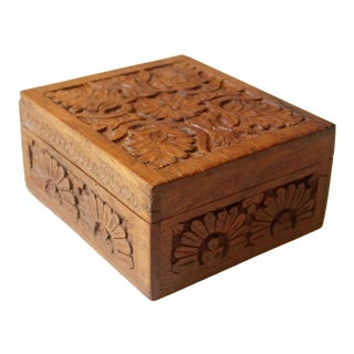 1950s Vintage Handmade Wooden Jewelry Box With Lid For Sale