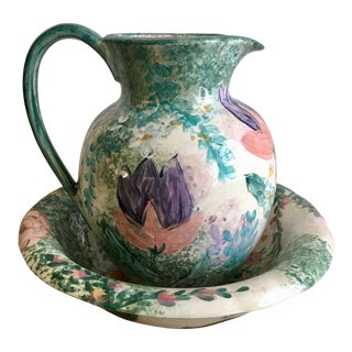 Lesal Ceramic Hand-Painted Pitcher an Wash Basin Bowl - a Pair For Sale