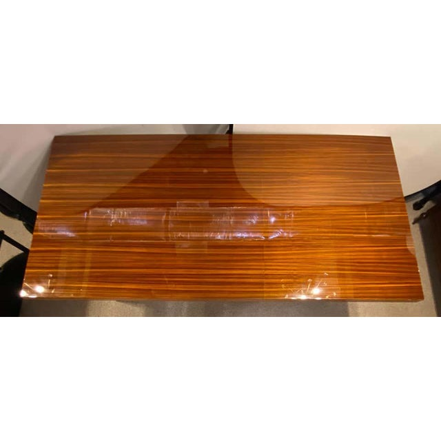 2000 - 2009 Lorin Marsh Dining Conference Table Smorgasbord Lacquered Zebra-Wood and Brass For Sale - Image 5 of 12