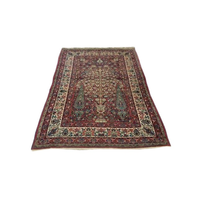 "Antique Kerman Handmade Wool Rug - 4'4"" X 6'6"" - Size Cat. 4x6 5x7 For Sale"