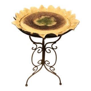 Ceramic Sunflower Side Table With Iron Base For Sale