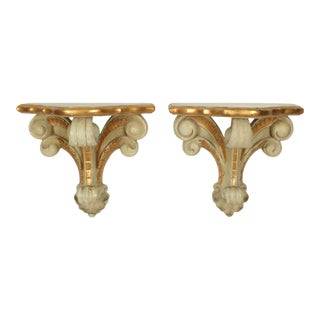 Serge Roche Style Carved Wall Brackets For Sale