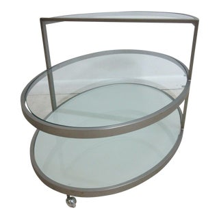 Mid-Century Oval Rolling Side Table For Sale