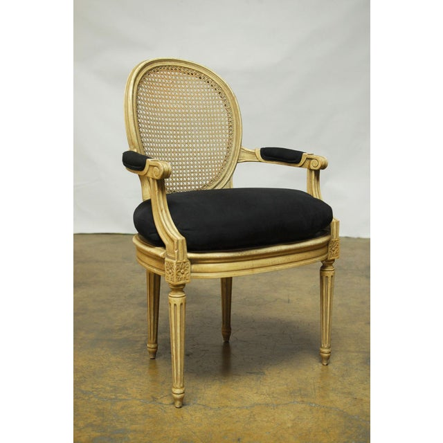 Louis XVI Style Cane Fauteuil Armchairs - Set of 5 For Sale - Image 5 of 10