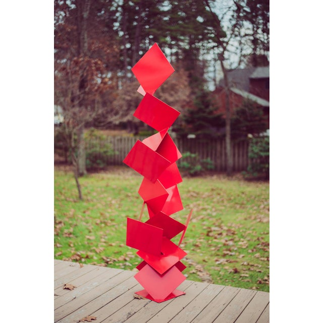 """Modern Abstract Balanced Gravity """"Sotto"""" Red Steel Sculpture For Sale - Image 11 of 11"""