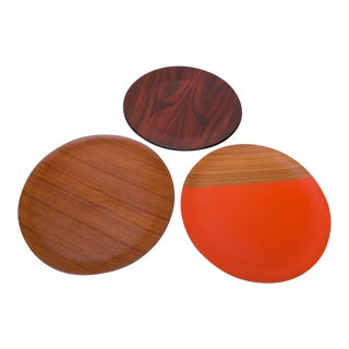 Collection of Three Rosewood and Teak Round Serving Trays For Sale
