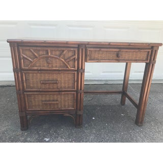 Vintage Henry Link Wicker Bamboo Desk Preview