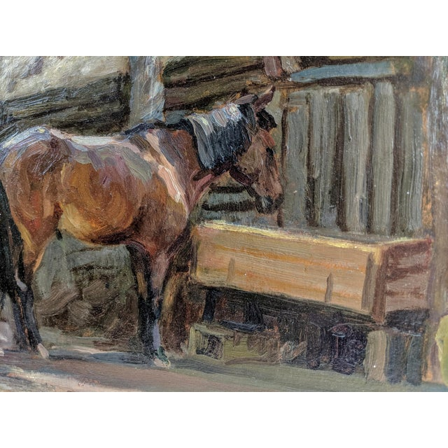 """English 1940s """"Horse Feeding"""" Oil Painting on Board After Sir Alfred Munnings, British For Sale - Image 3 of 5"""
