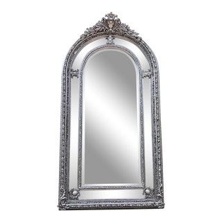 French Louis XVI Style Silver Mirror For Sale