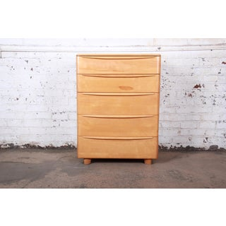 Heywood Wakefield Mid-Century Modern Solid Maple Highboy Dresser, 1950s Preview