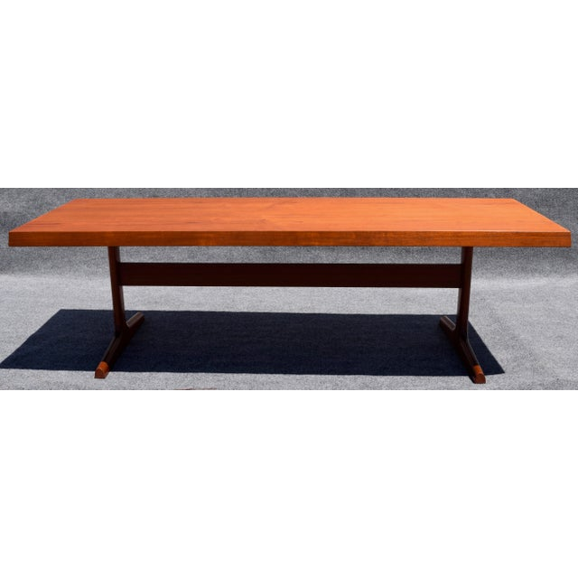 Danish Modern Vintage Mid Century Large Teak Coffee Table For Image 3