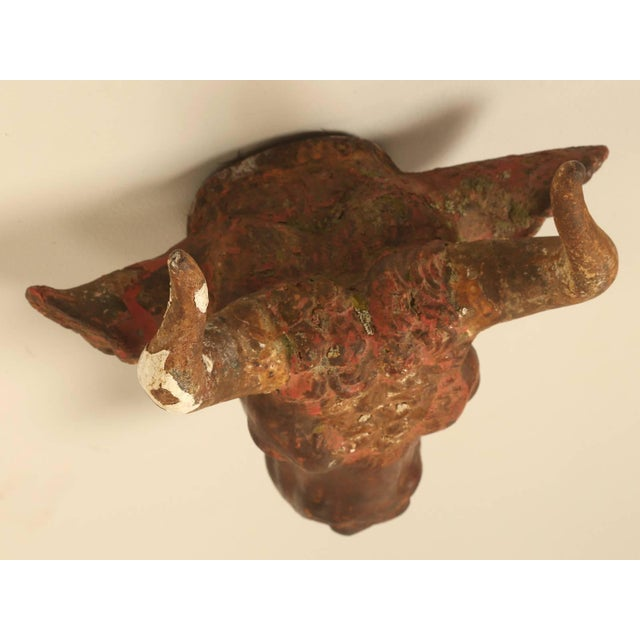 Late 19th Century Antique French Butcher Shop Cast Iron Steer Head For Sale - Image 5 of 9