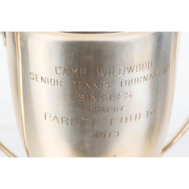 A beautiful antique circa 1919 heavy sterling silver trophy cup made by Tiffany and Company, given at camp Wildwood for a...