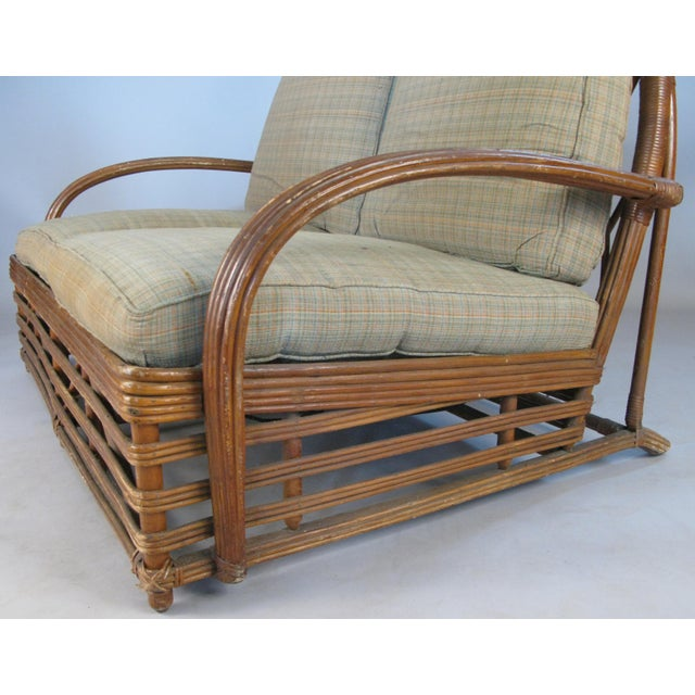 1940s Antique 1940s Arch Top Rattan Settee by Heywood Wakefield For Sale - Image 5 of 8