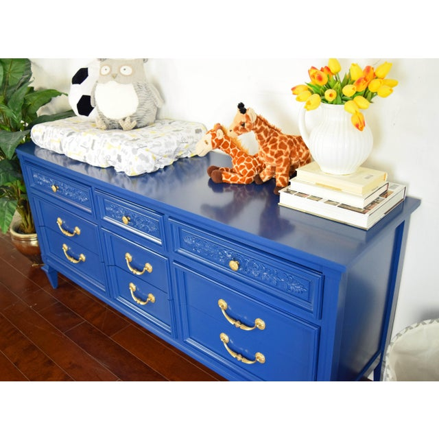 Blue Permacraft Nine Drawer Navy Blue Dresser With Carved Front For Sale - Image 8 of 13