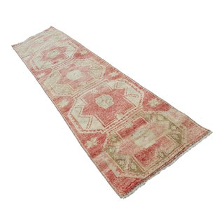 1970s Vintage Turkish Oushak Runner Rug - 2′6″ × 10′4″ For Sale