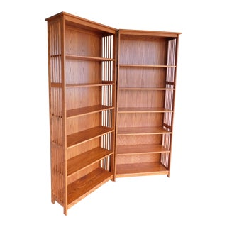 Mission Oak Arts and Crafts Open Bookcase - a Pair For Sale