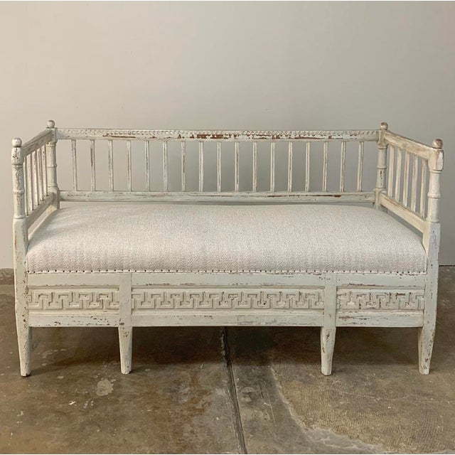 19th Century Swedish Painted Day Bed ~ Bench is a jewel of a find, with a high gallery rail on three sides perfect for...