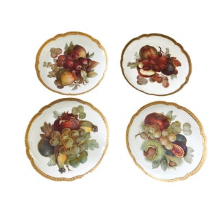 "Set of 4 German Porcelain Rosenthal Fruit Plates 8.75"" D For Sale"