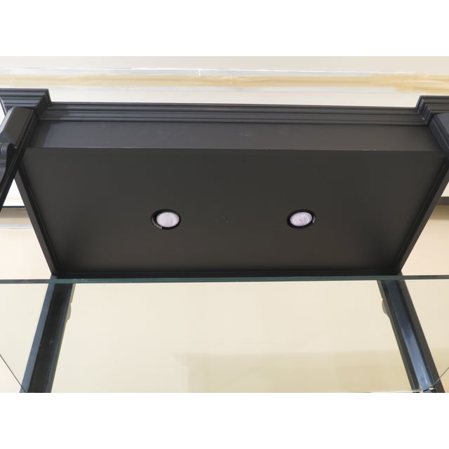 Glass Black Lighted Open Display Curio Shelf For Sale - Image 7 of 8