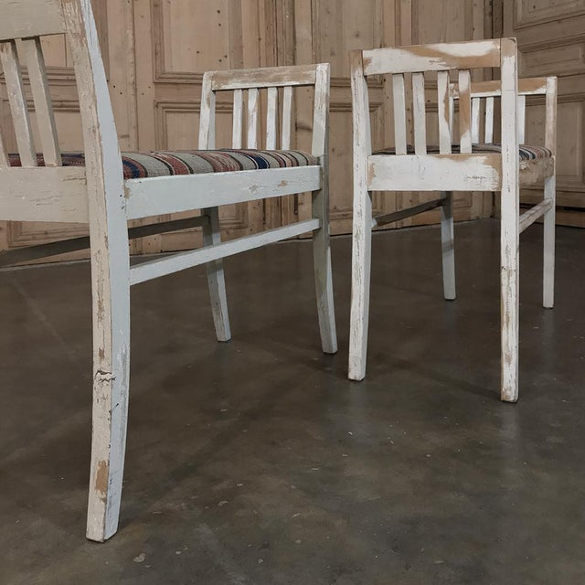 Pair 19th Century Antique Swedish White Painted Stools With Ikot Upholstery For Sale - Image 10 of 11