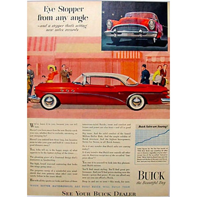 1954 Buick Matted Advertisement For Sale