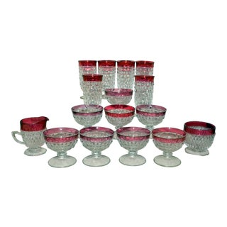 Tiffin King's Crown Ruby-Flashed Glassware - Set of 16