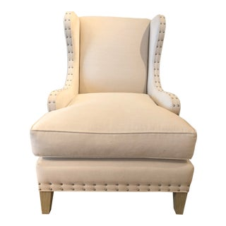 Transitional Cream Wing Chair For Sale