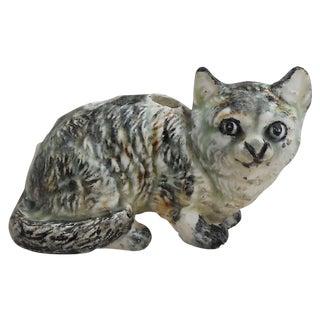 Petite Majolica Gray Cat Vase Delphin Massier Circa 1890 For Sale