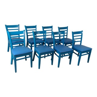 Set of 8 Blue Dining Chairs For Sale