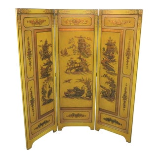 Chinoiserie Yellow Lacquered 3-Panel Screen For Sale