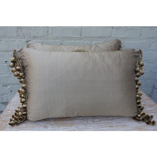 Floral Metallic Appliquess Monochromatic Silk Pillows - A Pair - Image 5 of 5