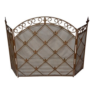 Antique French Wrought Iron Arched Fleur De Lis Fireplace Screen For Sale