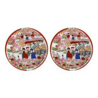 Vintage Hand-Painted Japanese Porcelain Luncheon Plates- a Pair For Sale