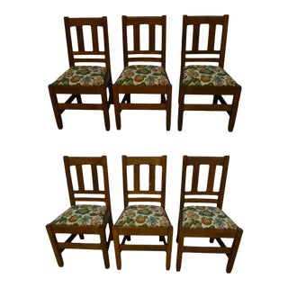 Early 20th Century Antique Stickley Brothers Mission Oak Dining Chairs- Set of 6 For Sale