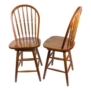 Windsor Style Wood Bar Stools a Pair For Sale