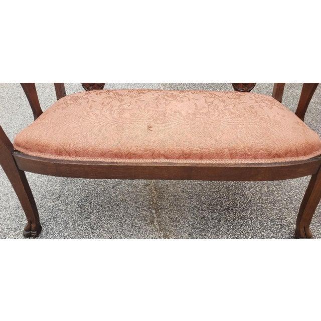 Wood Vintage Mid Century Brown Wood Settee For Sale - Image 7 of 11