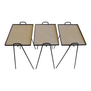 Vintage Wrought Iron Stackable Occasional Tv Tables - Set of 3 For Sale