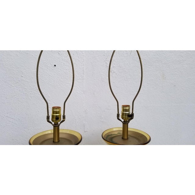 Orange Pair of Tall Vintage Amber Glass Table Lamps For Sale - Image 8 of 13