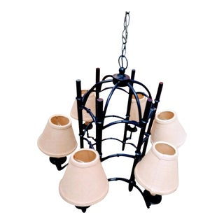 Vintage Palm Beach Regency Pagoda Cage Navy Blue 6 Light Chandelier For Sale