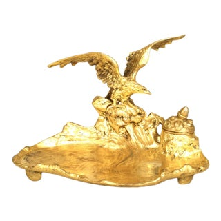 19th C. French Empire Bronze Dore Eagle Inkwell by A. Marionnet For Sale