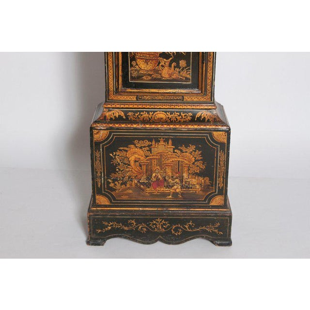 18th Century George II Lacquered Chinoiserie Tall Case Clock Inscribed Jno. Fladgate, London For Sale - Image 5 of 13