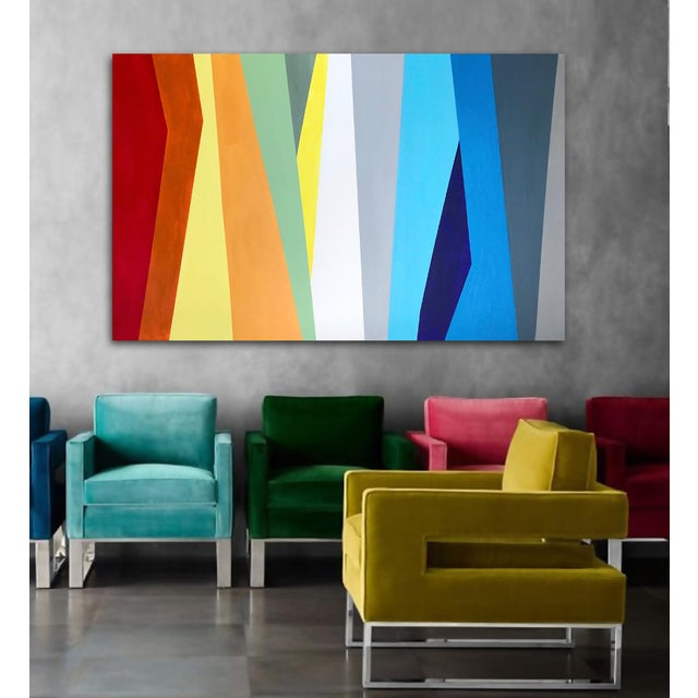Quirky, colorful and complex. As with most of my work, this painting can be displayed from any direction as it is signed...