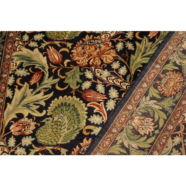 Art Nouveau Pak-Persian Caridad Blue/Red Wool Rug - 4'7 X 7'1 For Sale - Image 4 of 8