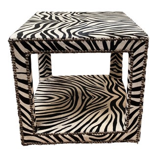 Century Furniture Zebra Print on Cowhide End Table For Sale
