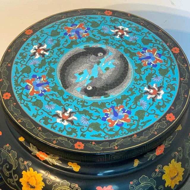 Paint Chinese Export Black Lacquer and Cloisonné Koi Motif Table For Sale - Image 7 of 13