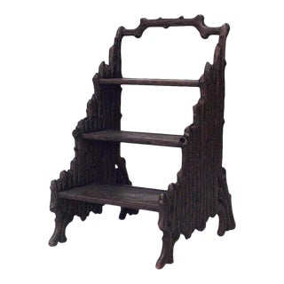 Black Forest Walnut Library Ladder For Sale